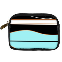 Cyan, Black And White Waves Digital Camera Cases by Valentinaart