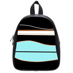 Cyan, Black And White Waves School Bags (small)  by Valentinaart