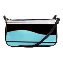 Cyan, Black And White Waves Shoulder Clutch Bags by Valentinaart