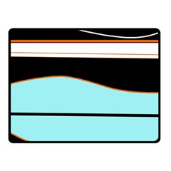 Cyan, Black And White Waves Fleece Blanket (small) by Valentinaart