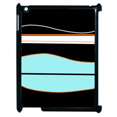 Cyan, Black And White Waves Apple Ipad 2 Case (black) by Valentinaart
