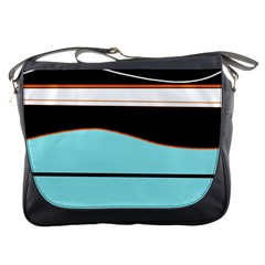Cyan, Black And White Waves Messenger Bags by Valentinaart