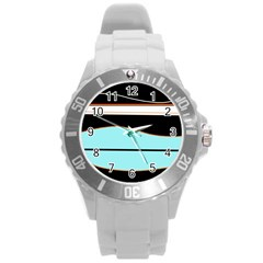 Cyan, Black And White Waves Round Plastic Sport Watch (l)