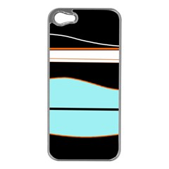 Cyan, Black And White Waves Apple Iphone 5 Case (silver) by Valentinaart