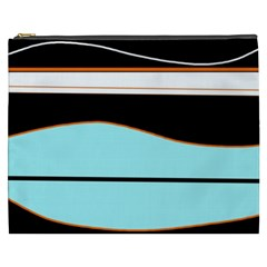 Cyan, Black And White Waves Cosmetic Bag (xxxl)  by Valentinaart