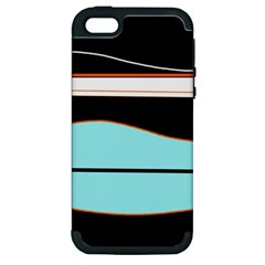 Cyan, Black And White Waves Apple Iphone 5 Hardshell Case (pc+silicone) by Valentinaart