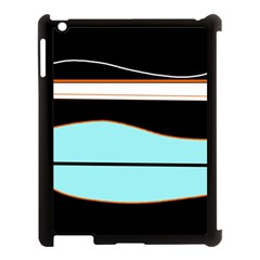 Cyan, Black And White Waves Apple Ipad 3/4 Case (black) by Valentinaart