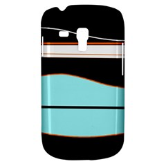 Cyan, Black And White Waves Samsung Galaxy S3 Mini I8190 Hardshell Case by Valentinaart