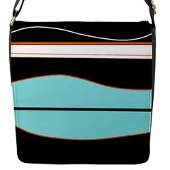 Cyan, Black And White Waves Flap Messenger Bag (s) by Valentinaart