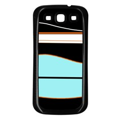 Cyan, Black And White Waves Samsung Galaxy S3 Back Case (black) by Valentinaart