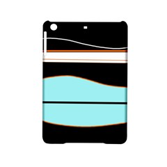 Cyan, Black And White Waves Ipad Mini 2 Hardshell Cases by Valentinaart