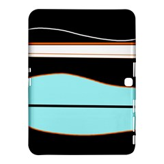 Cyan, Black And White Waves Samsung Galaxy Tab 4 (10 1 ) Hardshell Case