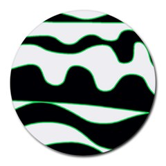Green, White And Black Round Mousepads by Valentinaart