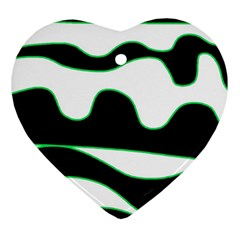 Green, White And Black Heart Ornament (2 Sides) by Valentinaart