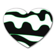 Green, White And Black Heart Mousepads by Valentinaart