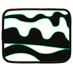 Green, White And Black Netbook Case (xxl)  by Valentinaart