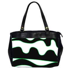 Green, White And Black Office Handbags (2 Sides)  by Valentinaart