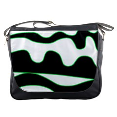 Green, White And Black Messenger Bags by Valentinaart