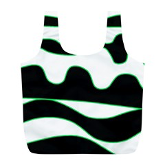 Green, White And Black Full Print Recycle Bags (l)  by Valentinaart