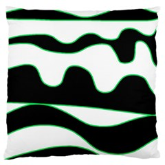 Green, White And Black Large Flano Cushion Case (one Side) by Valentinaart