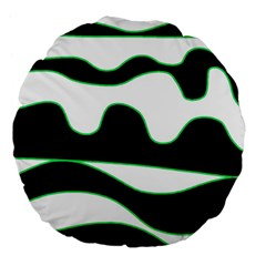 Green, White And Black Large 18  Premium Flano Round Cushions by Valentinaart