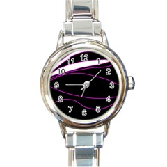 Purple, White And Black Lines Round Italian Charm Watch by Valentinaart