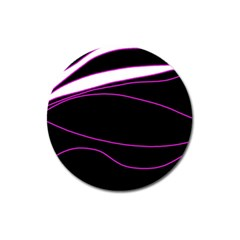 Purple, White And Black Lines Magnet 3  (round) by Valentinaart