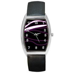 Purple, White And Black Lines Barrel Style Metal Watch by Valentinaart