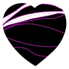 Purple, White And Black Lines Jigsaw Puzzle (heart) by Valentinaart