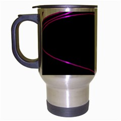Purple, White And Black Lines Travel Mug (silver Gray) by Valentinaart