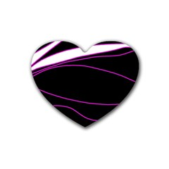 Purple, White And Black Lines Rubber Coaster (heart)  by Valentinaart
