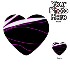 Purple, White And Black Lines Multi Purpose Cards (heart)  by Valentinaart