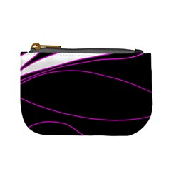 Purple, White And Black Lines Mini Coin Purses by Valentinaart