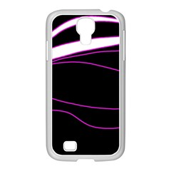 Purple, White And Black Lines Samsung Galaxy S4 I9500/ I9505 Case (white) by Valentinaart