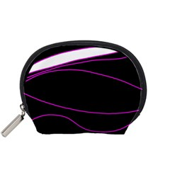Purple, White And Black Lines Accessory Pouches (small)  by Valentinaart