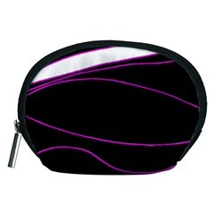 Purple, White And Black Lines Accessory Pouches (medium)  by Valentinaart