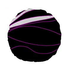 Purple, White And Black Lines Standard 15  Premium Flano Round Cushions by Valentinaart