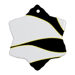 Yellow, Black And White Ornament (snowflake)  by Valentinaart