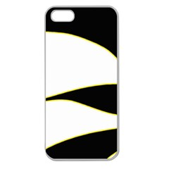 Yellow, Black And White Apple Seamless Iphone 5 Case (clear) by Valentinaart