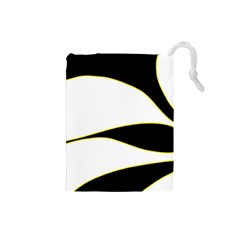 Yellow, Black And White Drawstring Pouches (small)  by Valentinaart