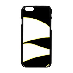Yellow, Black And White Apple Iphone 6/6s Black Enamel Case by Valentinaart