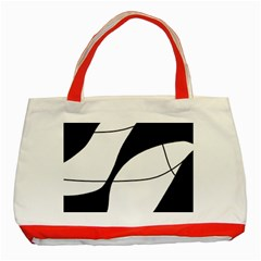 White And Black Shadow Classic Tote Bag (red) by Valentinaart