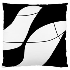 White And Black Shadow Large Cushion Case (one Side) by Valentinaart