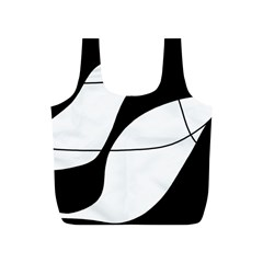 White And Black Shadow Full Print Recycle Bags (s)  by Valentinaart