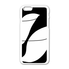 White And Black Shadow Apple Iphone 6/6s White Enamel Case by Valentinaart