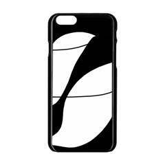 White And Black Shadow Apple Iphone 6/6s Black Enamel Case by Valentinaart