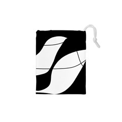 White And Black Shadow Drawstring Pouches (xs)  by Valentinaart