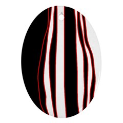 White, Red And Black Lines Ornament (oval)  by Valentinaart