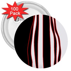 White, Red And Black Lines 3  Buttons (100 Pack)  by Valentinaart