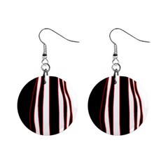 White, Red And Black Lines Mini Button Earrings by Valentinaart